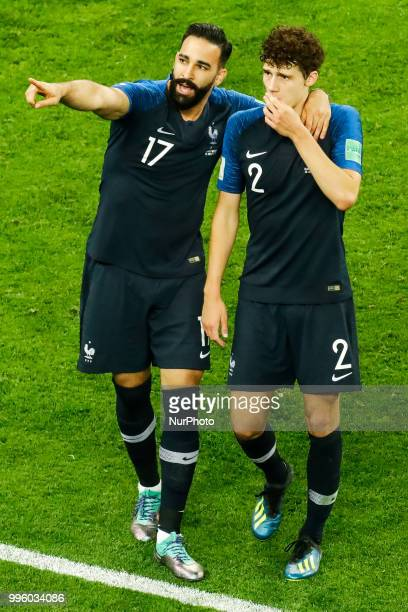Adil Rami and Benjamin Pavard of France national team celebrate victory during the 2018 FIFA World Cup Russia Semi Final match between France and...