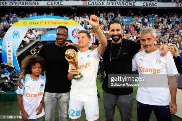 Adil Rami and Steve Mandanda and Florian Thauvin and Franck Le Gall of Marseille during the French Ligue 1 match between Marseille and Toulouse at...