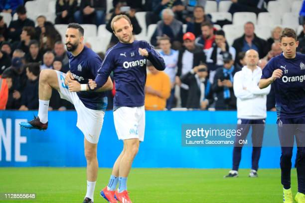 Adil Rami and Valere Germain to the Ligue 1 match between Olympique de Marseille and AS SaintEtienne at Stade Velodrome on March 3 2019 in Marseille...