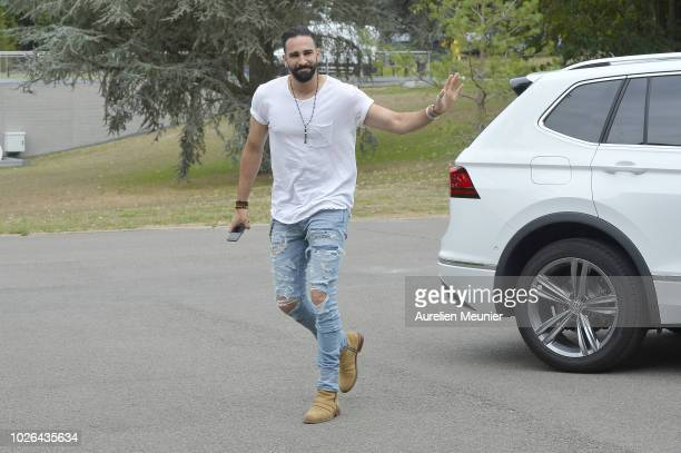 Adil Rami arrives for a French Soccer team training session on September 3 2018 in EtivalClairefontaine France