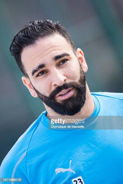 Adil Rami attends the Olympique de Marseille training session at Centre RobertLouis Dreyfus on December 12 2018 in Marseille France