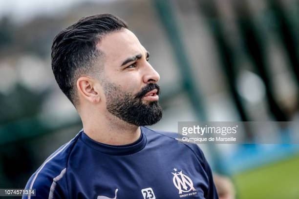 Adil Rami attends the Olympique de Marseille training session at Centre RobertLouis Dreyfus at Centre Robert LouisDreyfus on December 21 2018 in...