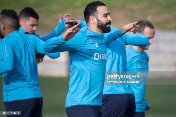 Adil Rami in action during a training session at Centre RobertLouis Dreyfus on December 12 2018 in Marseille France