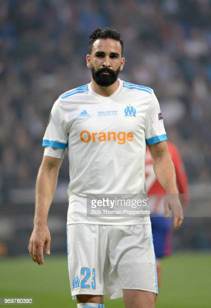 Adil Rami in action for Marseille during the UEFA Europa League Final between Olympique de Marseille and Club Atletico de Madrid at Stade de Lyon on...