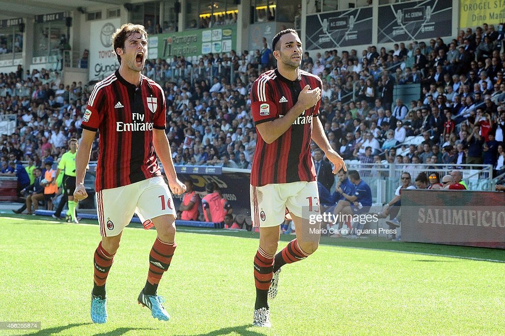 Adil Rami # 13 of AC Milan celebrates after scroing his team's first goal the Serie A match between AC Cesena and AC Milan at Dino Manuzzi Stadium on September 28, 2014 in Cesena, Italy.