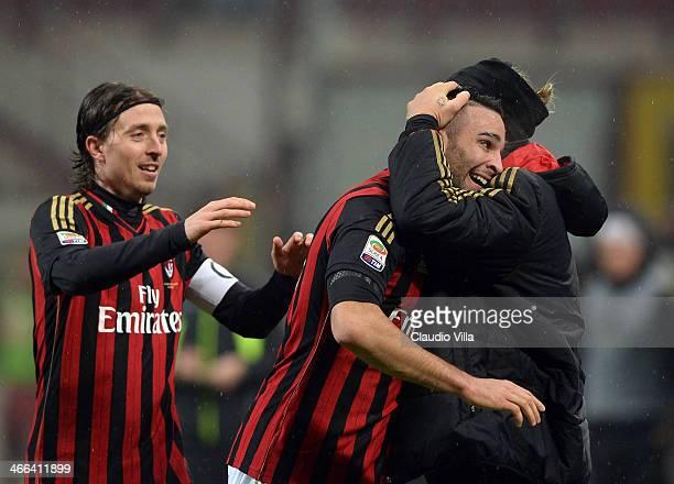 Adil Rami of AC Milan celebrates scoring the first goal during the Serie A match between AC Milan and Torino FC at San Siro Stadium on February 1...