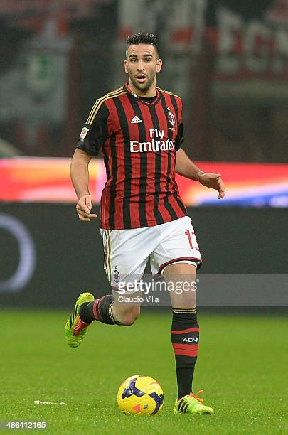 Adil Rami of AC Milan in action during the Serie A match between AC Milan and Torino FC at San Siro Stadium on February 1 2014 in Milan Italy