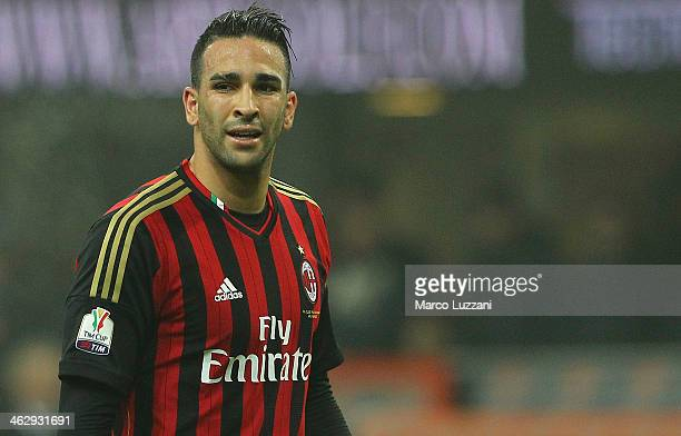 Adil Rami of AC Milan looks on during the TIM Cup match between AC Milan and AC Spezia at Stadio Giuseppe Meazza on January 15 2014 in Milan Italy