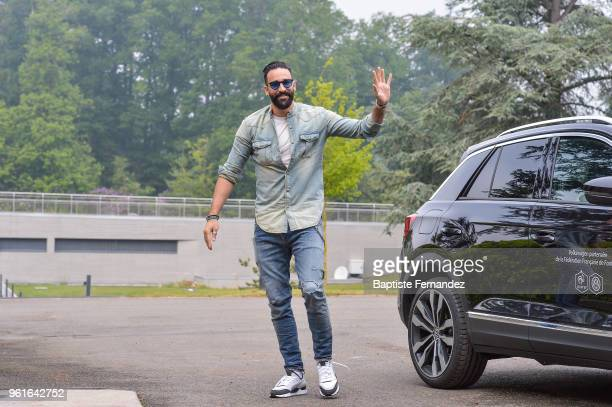 Adil Rami of France arrives at Centre National du Football on May 23 2018 in Clairefontaine en Yvelines France