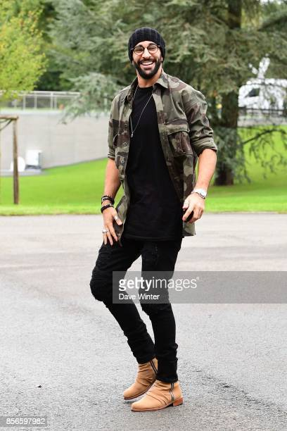 Adil Rami of France arrives at Centre National du Football on October 2 2017 in Clairefontaine en Yvelines France