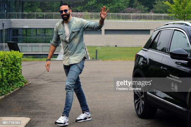 Adil Rami of France arrives at the Center National Football as part of the preparation to FIFA Russia 2018 on May 23 2018 in Clairefontaine France