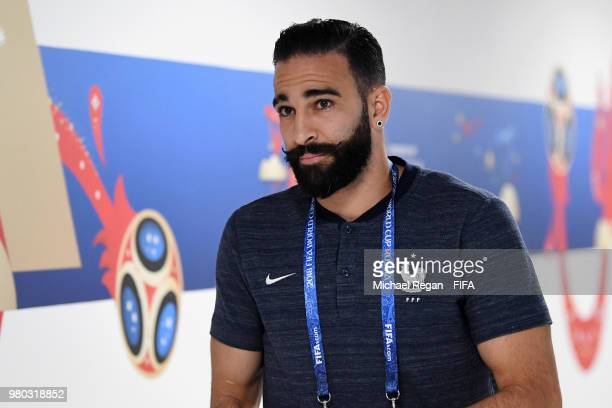 Adil Rami of France arrives at the stadium prior to the 2018 FIFA World Cup Russia group C match between France and Peru at Ekaterinburg Arena on...