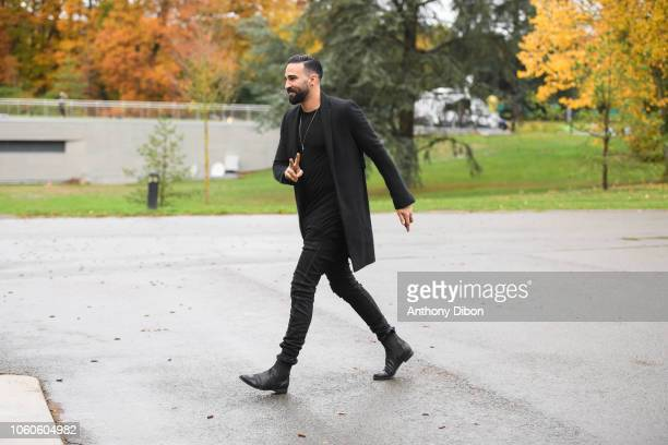 Adil Rami of France arrives for the training session of the France soccer team at Centre National du Football on November 12 2018 in Clairefontaine...