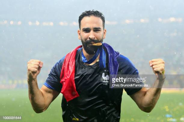 Adil Rami of France celebrates after the 2018 FIFA World Cup Russia Final between France and Croatia at Luzhniki Stadium on July 15 2018 in Moscow...
