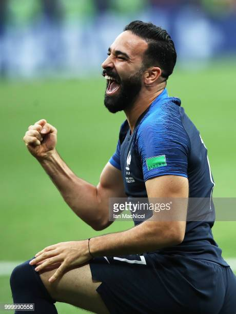 Adil Rami of France celebrates at the final whistle during the 2018 FIFA World Cup Russia Final between France and Croatia at Luzhniki Stadium on...