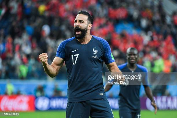 Adil Rami of France celebrates during the Semi Final FIFA World Cup match between France and Belgium at Krestovsky Stadium on July 10 2018 in Saint...