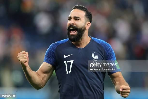 Adil Rami of France celebrates following his sides victory in the 2018 FIFA World Cup Russia Semi Final match between Belgium and France at Saint...