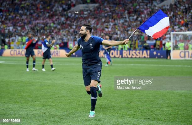 Adil Rami of France celebrates following his sides victory in the 2018 FIFA World Cup Final between France and Croatia at Luzhniki Stadium on July 15...