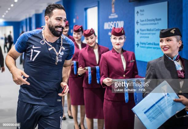 Adil Rami of France celebrates the win when he runs through the players tunnel after the 2018 FIFA World Cup Russia Final between France and Croatia...
