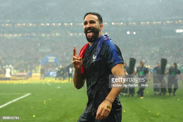 Adil Rami of France celebrates victory at the end of of the 2018 FIFA World Cup Russia Final between France and Croatia at Luzhniki Stadium on July...