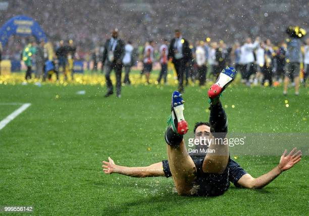 Adil Rami of France celebrates victory during the 2018 FIFA World Cup Final between France and Croatia at Luzhniki Stadium on July 15 2018 in Moscow...