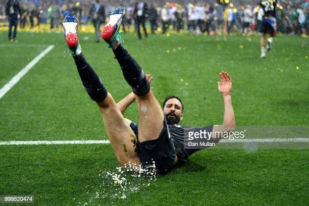 Adil Rami of France celebrates victory following the 2018 FIFA World Cup Final between France and Croatia at Luzhniki Stadium on July 15 2018 in...