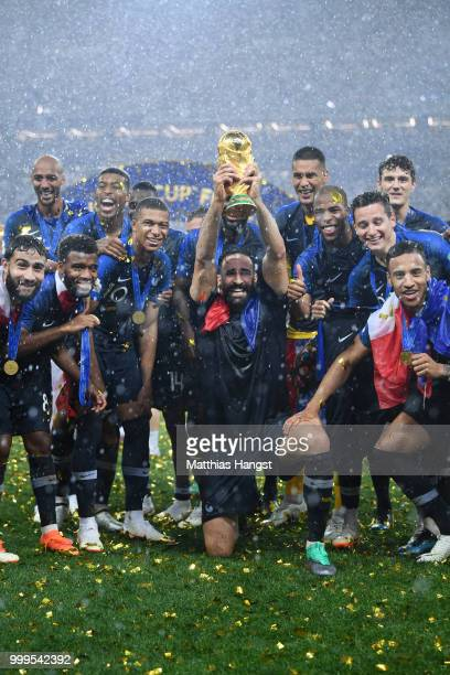 Adil Rami of France celebrates with the World Cup Trophy following his sides victory in during the 2018 FIFA World Cup Final between France and...