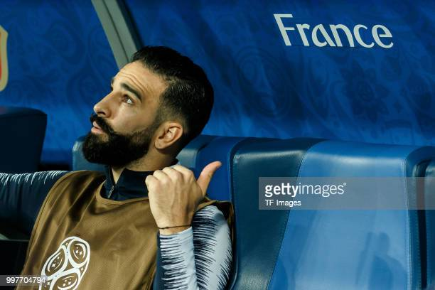 Adil Rami of France gestures prior to the 2018 FIFA World Cup Russia Semi Final match between France and Belgium at Saint Petersburg Stadium on July...