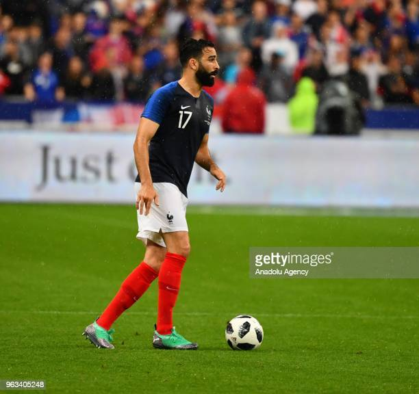 Adil Rami of France in action during the friendly football match between France and Ireland at the Stade de France stadium in SaintDenis north of...