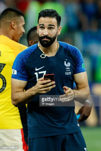 Adil Rami of France looks on during the 2018 FIFA World Cup Russia Final between France and Croatia at Luzhniki Stadium on July 15 2018 in Moscow...