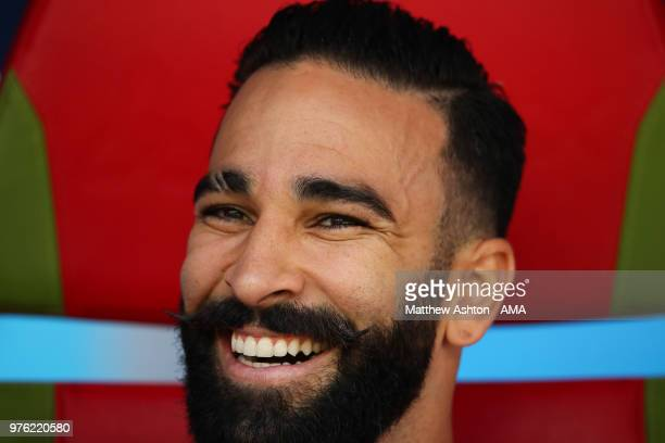 Adil Rami of France looks on from the bench prior to the 2018 FIFA World Cup Russia group C match between France and Australia at Kazan Arena on June...