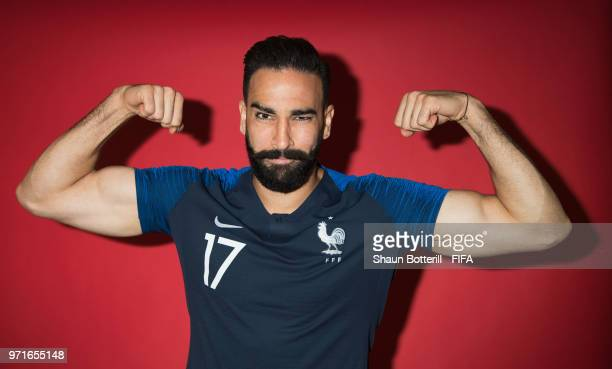 Adil Rami of France poses for a potrait at the team hotel during the official FIFA World Cup 2018 portrait session at on June 11 2018 in Moscow Russia