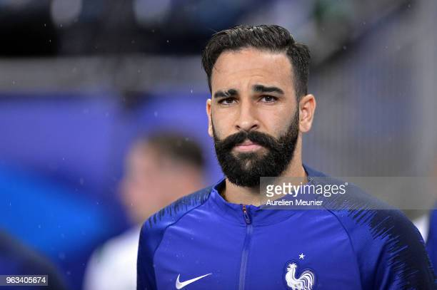 Adil Rami of France reacts as he arrives on the pitch before the international friendly match between France and Republic of Ireland at Stade de...