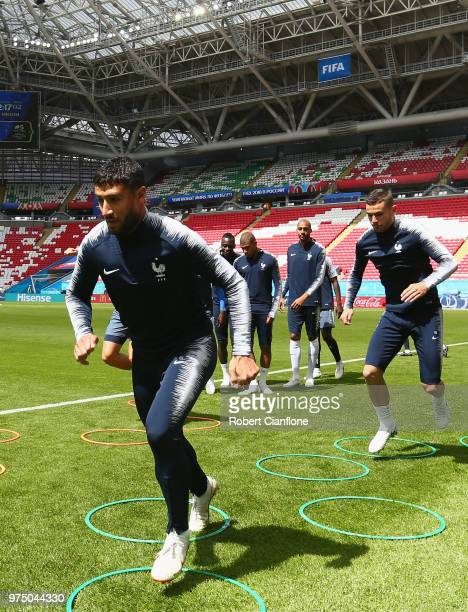 Adil Rami of France warms up during the French team training session at Kazan Arena on June 15 2018 in Kazan Russia