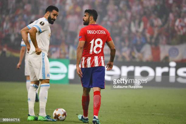 Adil Rami of Marseille and Diego Costa of Atletico Madrid during the Europa League Final match between Marseille and Atletico Madrid at Groupama...