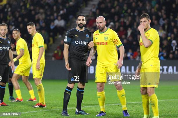 Adil Rami of Marseille and Nicolas Pallois of Nantes during the French Ligue 1 match between FC Nantes and Olympique de Marseille on December 5 2018...