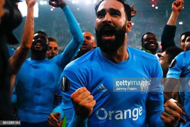 Adil Rami of Marseille celebrates the victory during the Semi Final Second Leg Europa League match between RB Salzburg and Marseille at Red Bull...