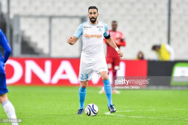 Adil Rami of Marseille during the French League Cup match between Marseille and Strasbourg at Stade Velodrome on December 19 2018 in Marseille France