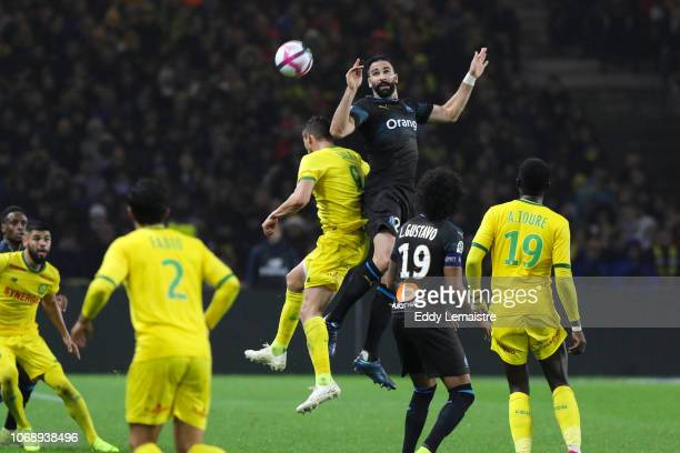 Adil Rami of Marseille during the French Ligue 1 match between FC Nantes and Olympique de Marseille on December 5 2018 in Nantes France