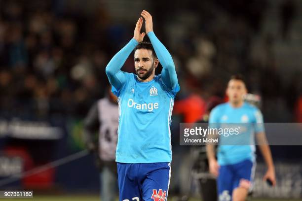 Adil Rami of Marseille during the Ligue 1 match between Caen and Olympique de Marseille at Stade Michel D'Ornano on January 19 2018 in Caen France