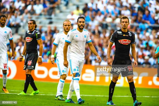 Adil Rami of Marseille during the Ligue 1 match between Olympique Marseille and Angers SCO at Stade Velodrome on August 20 2017 in Marseille