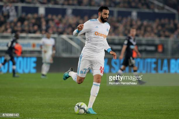 Adil Rami of Marseille in action during the Ligue 1 match between FC Girondins de Bordeaux and Olympique Marseille at Stade Matmut Atlantique on...