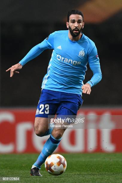 Adil Rami of Marseille in action during UEFA Europa League Round of 32 match between Sporting Braga and Marseille at the Estadio Municipal de Braga...