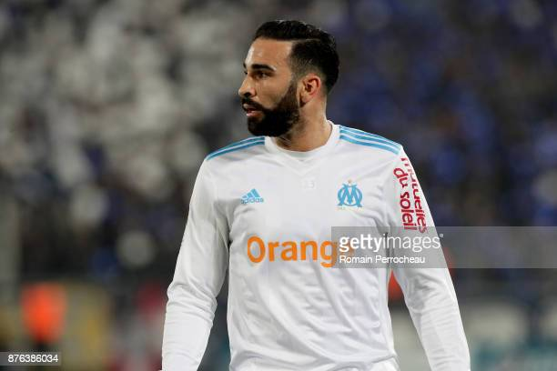Adil Rami of Marseille looks on during the Ligue 1 match between FC Girondins de Bordeaux and Olympique Marseille at Stade Matmut Atlantique on...