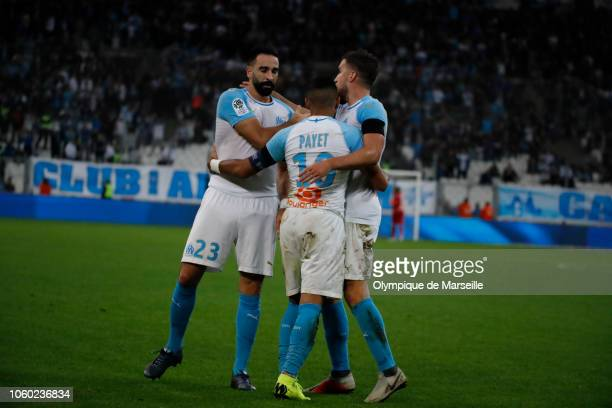 Adil Rami of Marseille reacts after scoring during the ligue 1 match between Olympique de Marseilleat Stade Velodrome on November 11 2018 in...