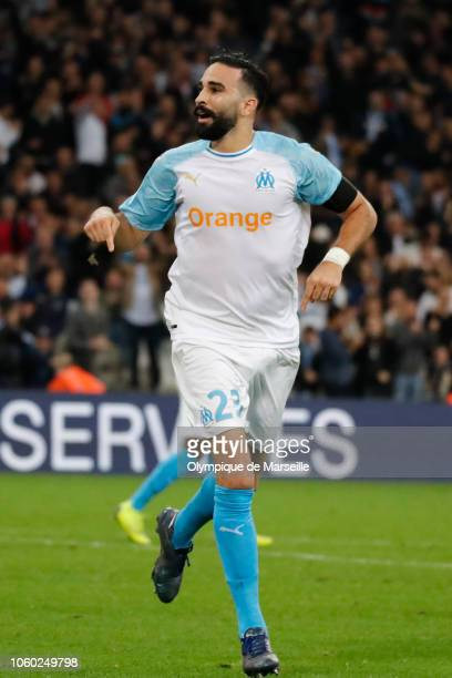 Adil Rami of Marseille reacts after scoring during the ligue 1 match between Olympique de Marseille at Stade Velodrome on November 11 2018 in...