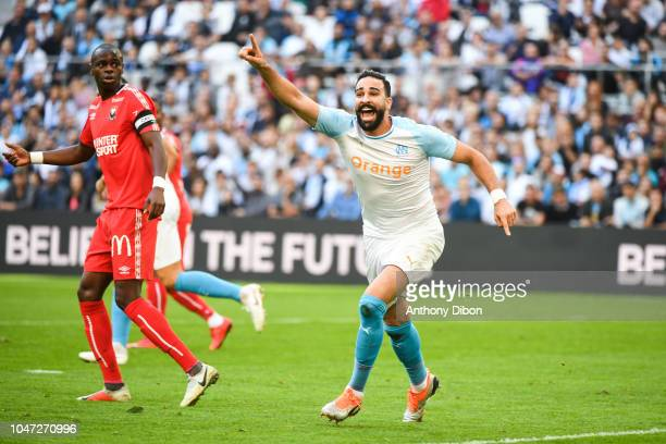 Adil Rami of Marseille reacts during the Ligue 1 match between Marseille and Caen at Stade Velodrome on October 7 2018 in Marseille France