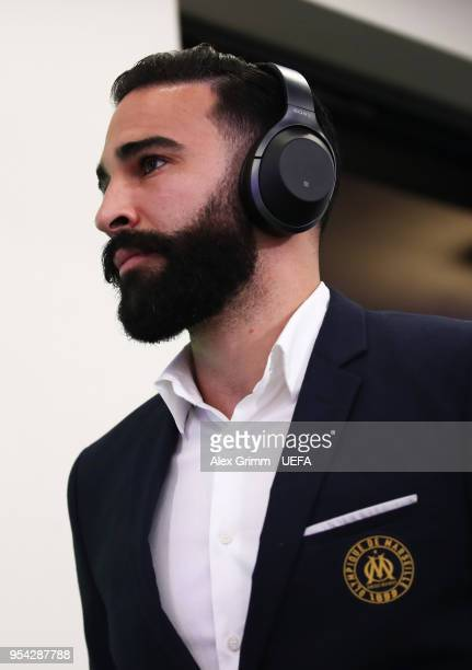 Adil Rami of Marseillearrives for the UEFA Europa Semi Final Second leg match between FC Red Bull Salzburg and Olympique de Marseille at Red Bull...