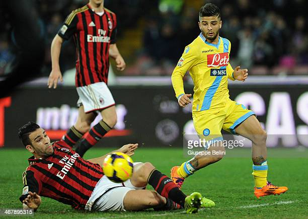 Adil Rami of Milan and Lorenzo Insigne of Napoli in action during the Serie A match between SSC Napoli and AC Milan at Stadio San Paolo on February 8...