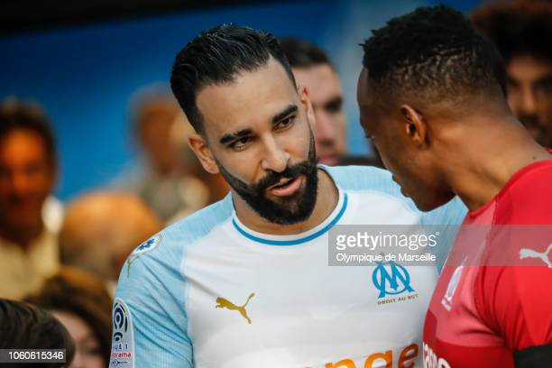 Adil Rami of Olympique de Marseille during the ligue 1 match between Olympique de Marseille at Stade Velodrome on November 11 2018 in Marseille France